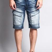 Special Wash Front Cargo Pocket Denim Shorts