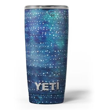 The Grungy Blue Green Stars Surface - Skin Decal Vinyl Wrap Kit compatible with the Yeti Rambler Cooler Tumbler Cups