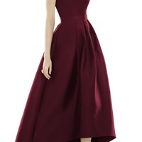 Alfred Sung Strapless High/Low Sateen Twill Gown | Nordstrom