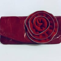 Vintage Red Leather Clutch, Large Rose, Red Carpet, Antique Alchemy