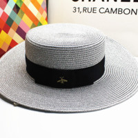 60 cm M letter fine linen straw brim hat sunshade wide-brimmed hat female bee large straw hat holiday hat