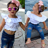 2Pcs Baby Girl Kids Summer Crop Tops Tank Top T-shirt Clothes+Jeans Pants Outfit