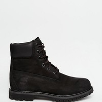 Timberland 6 inch premium black lace up flat boots at asos.com