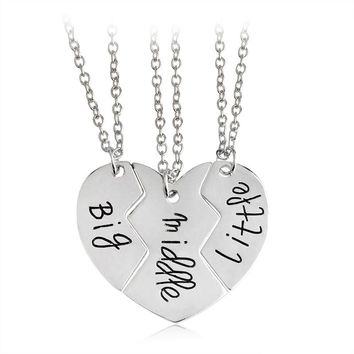 Free shipping Best Friends Three piece Stitching Love Heart Pendants Necklace Little Middle Big Sisters Necklace For Women Gift