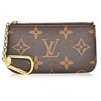 Fanewants / LV Louis Vuitton Monogram Coffee LV Print Canvas PU Small Coin Purse Key Pouch