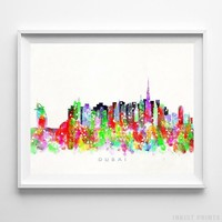 Dubai UAE Watercolor Skyline Wall Art Home Decor Poster UNFRAMED by Inkist Prints