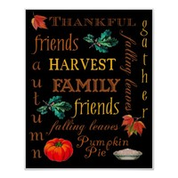 Thanksgiving Harvest Text Art Black Poster