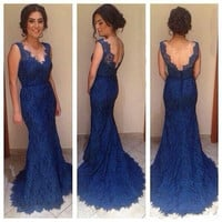 Navy Blue Mermaid Evening Dresses New Custom V Neck Elegant Lace Red Carpet Gowns Backless Long Formal Prom Gowns