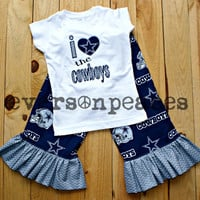 DALLAS COWBOYS GIRLS 2Pc Custom Outfit With Ruffled Chevron Bottoms and Matching Top