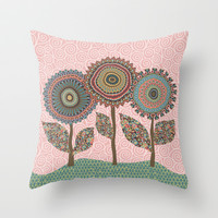 Fabby Flowers-Vintage colors Throw Pillow by Groovity
