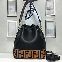 FENDI Women Fashion Leather Crossbody Shoulder Bag Handbag Bucket Bag Satchel