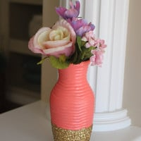 Coral and Gold Vase, Coral Centerpiece, Gold Centerpiece, Coral Wedding Vase, Coral Wedding centerpiece, Spring Vase, Mother's Day Gift