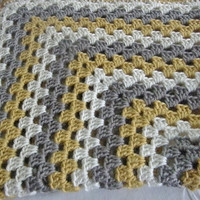 Ready To Ship Mustard Gray Ivory Baby Toddler Afghan Crib Blanket Baby Shower Gift