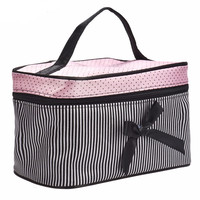 Striped Bowknot Women Makeup bag
