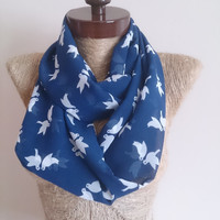 MOTHERS DAY Bird print Infinty Scarf, Chiffon Infinity scarf, birds printed, Navi Blue pigeons printed, Women Fashion Accessories, #forher