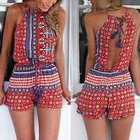Summer Need Cut Out Strappy Romper - Red/Blue