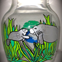 Save the Manatee Vase - Hand Painted