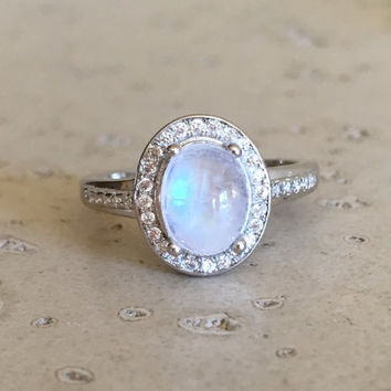 Oval Halo Moonstone Ring- Promise Ring- Wedding Ring- Engagement Ring- Rainbow Moonstone Ring- Sterling Silver Ring