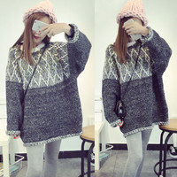 Heathered Color Block Knitted Pullover Sweater