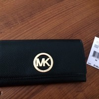 NWT Michael Kors Black Pebbled Leather Fulton Carryall Wallet