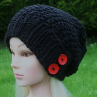 Hand Knit Hat Women's Hat -slouchy -beanie hat- black with two red wooden buttons- winter hat