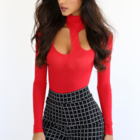 Red Cutout Turtleneck Bodysuit