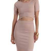 Pink Wrapped Hem Open Back Crop Top by Charlotte Russe