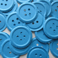 125. Blue Button confetti. Baby boy Shower decorations. Party decor. Blue Button Embellishments. Scrapbooking. Die cuts. Party supplies.