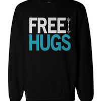 Holiday Spirit Graphic Sweatshirts - Free Hugs Men's Black Sweatshirts