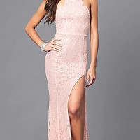 Long Lace Prom Dress with Spaghetti Straps