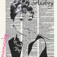 Audrey Hepburn Vintage Dictionary Fan Wall Art Page Poster Room Decoration