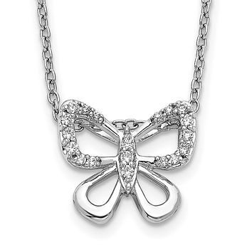 14k White Gold Real Diamond Butterfly 18 inch Necklace