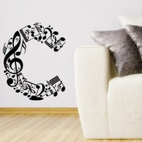 """Wall Vinyl Sticker Decal Art Design Abstract Alphabet """"C"""" Made From Music Notes Room Nice Picture Decor Hall Wall Chu971"""