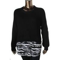 MICHAEL Michael Kors Womens Knit 2-in-1 Pullover Sweater