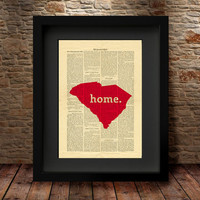 South Carolina, South Carolina State, South Carolina Map, Art Print, Dictionary Print, State Map Print, Dictionary State Art Print -27C