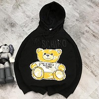Moschino New fashion letter bear print hooded long sleeve sweater top Black