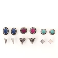 With Love From CA Boho Stone 6 Earring Set - Womens Jewelry - Silver - One