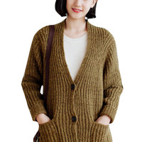 Knit Long Sleeve Buttoned Cardigan