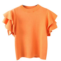 Knitted T-shirt with Ruffle Sleeves
