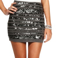 Charcoal Sequin Stripe Bodycon Skirt