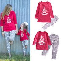 New Autumn Family Matching Outfits Set Christmas Women Daughter Girls Deer Sleepwear Nightwear Pajamas Pyjamas Clothes
