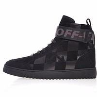 virgil abloh x Off-white Arrows High Top Sneakers¡°Black garid¡±OMIA051F170341071010
