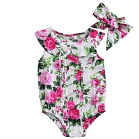 Summer Cute born Baby Girls Floral Romper Jumper Back Button Jumpsuit Outfits Set Clothes 0-24M
