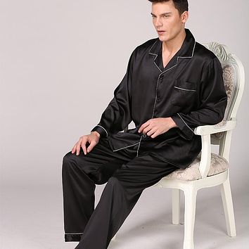 Men In Black Silk Pajamas Spring, Summer, Summer Long Sleeve Pure Color Suits Large Household To Take 89002 Yards