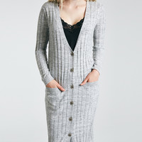 Buttoned Ribbed Knit Duster Cardigan | Wet Seal