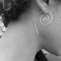 Koru Silver Spiral Earrings. Flourish Collection. Handmade Jewelry by Full Spiral on Etsy.