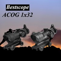 Tactical ACOG 1X32 Red Dot Sight Optical Rifle Scopes  ACOG Red Dot Scope Hunting Scopes With 20mm Rail for Airsoft Gun
