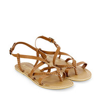 Xanthe Plaited Sandal | Brown | Accessorize