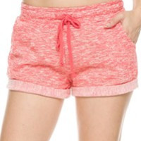 Terry Rolled Hem Shorts: Coral