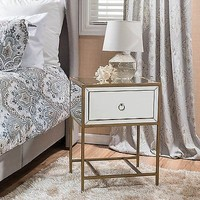 Mirrored Accent End Side Table Modern Nightstand Drawer Storage Corner NEW
